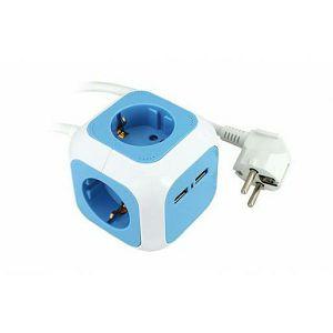 PRIKLJUČNICA PRIJENOSNA STOLNA 4x ŠUKO 2x USB (kocka) PP/J 3*1,5 1,4m 234-161