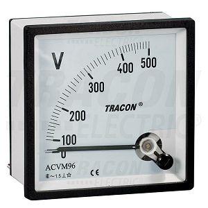VOLTMETAR 0-250V 96*96 analogni ugradni za izmjeničnu struju